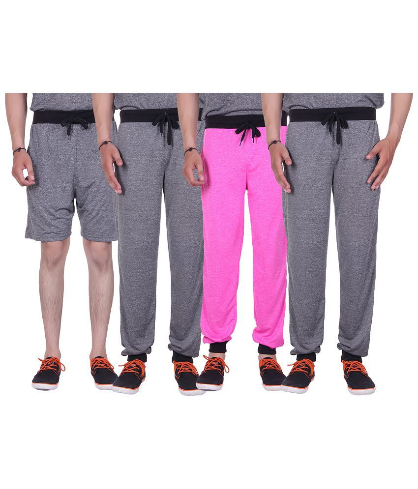 Gag Wear Multicolour Pack of Solid Melange Shorts & 3 Trackpants