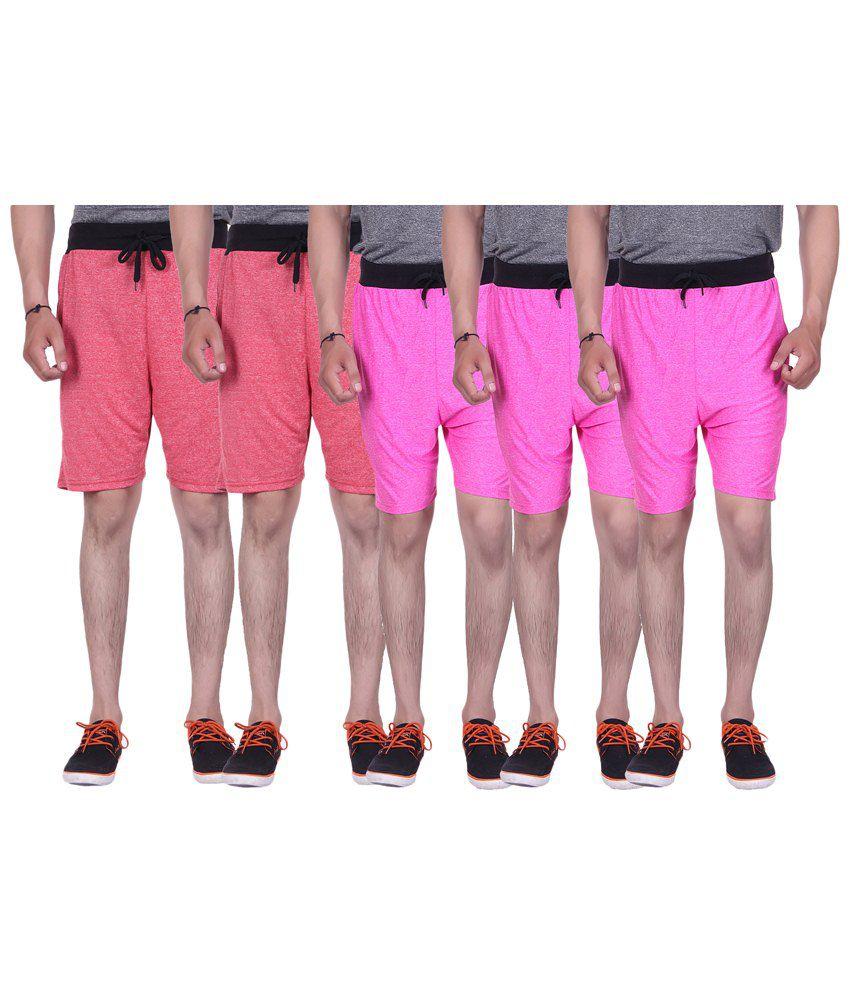 Gag Wear Pack of 5 Red & Pink Melange Shorts
