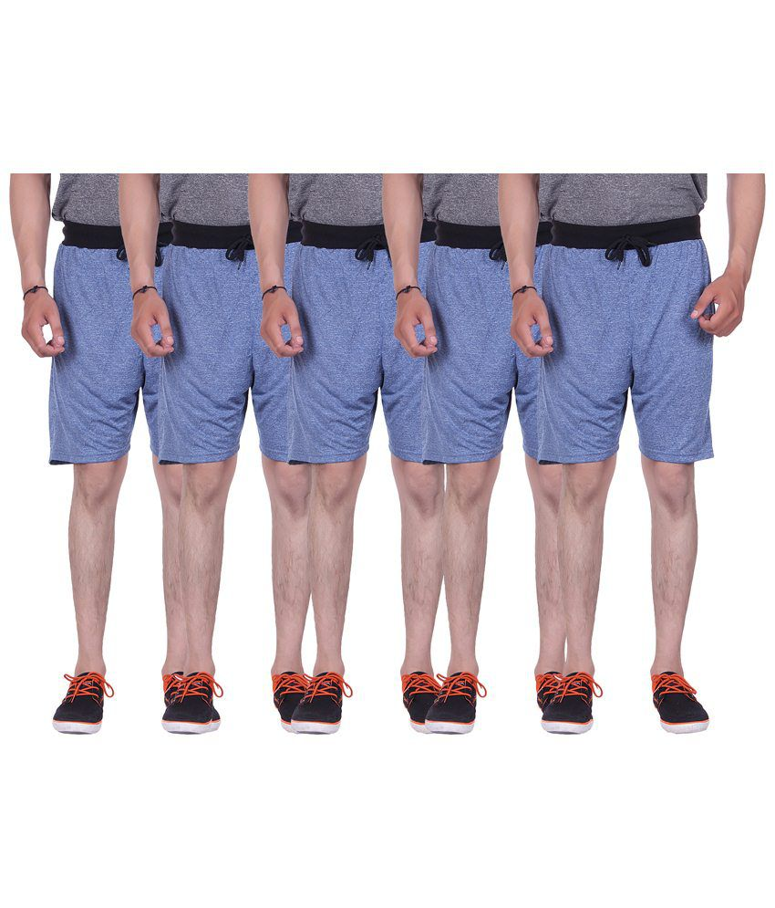 Gag Wear Pack of 5 Blue Melange Shorts