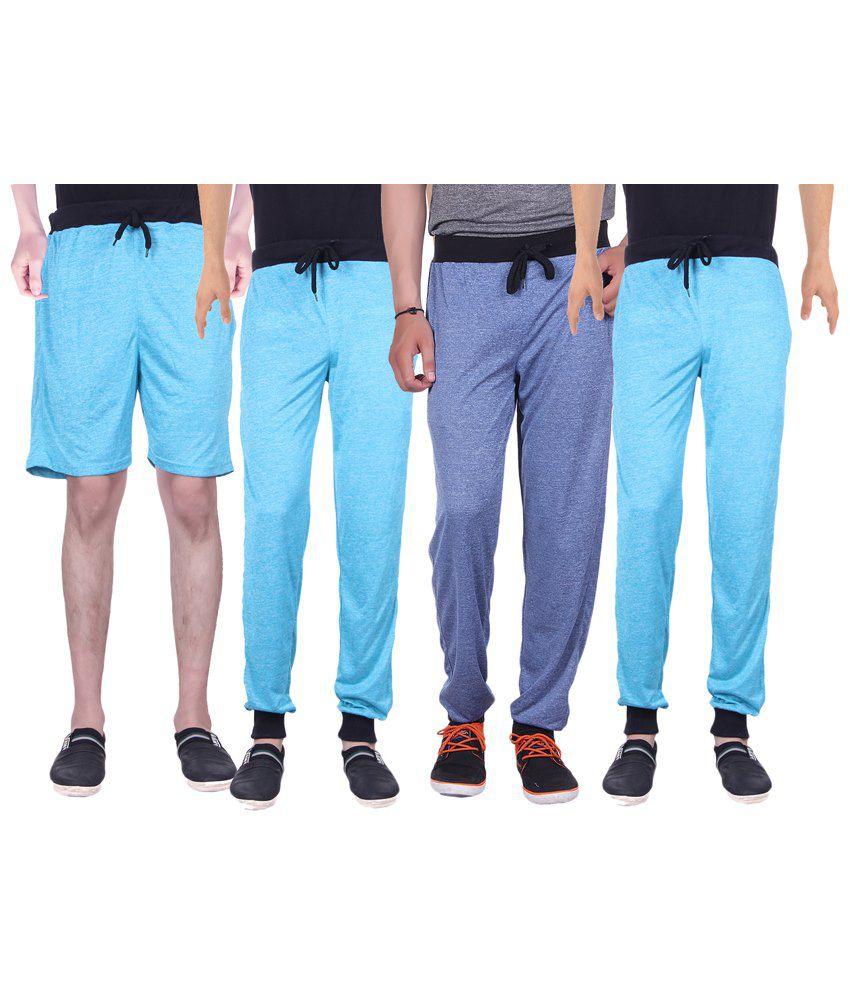 Gag Wear Pack of Blue Solid Melange Shorts & 3 Trackpants