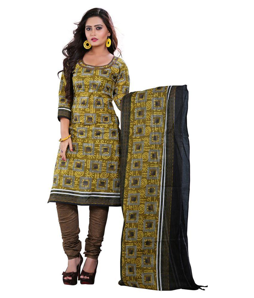 Pari Green Cotton Unstitched Dress Material