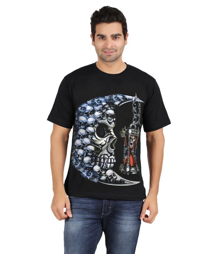 Avenster Black Printed Cotton T-shirt