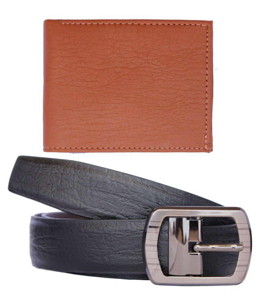 Discover Fashion Black Pin Buckle Leather Belt And Wallet - Combo Of 2
