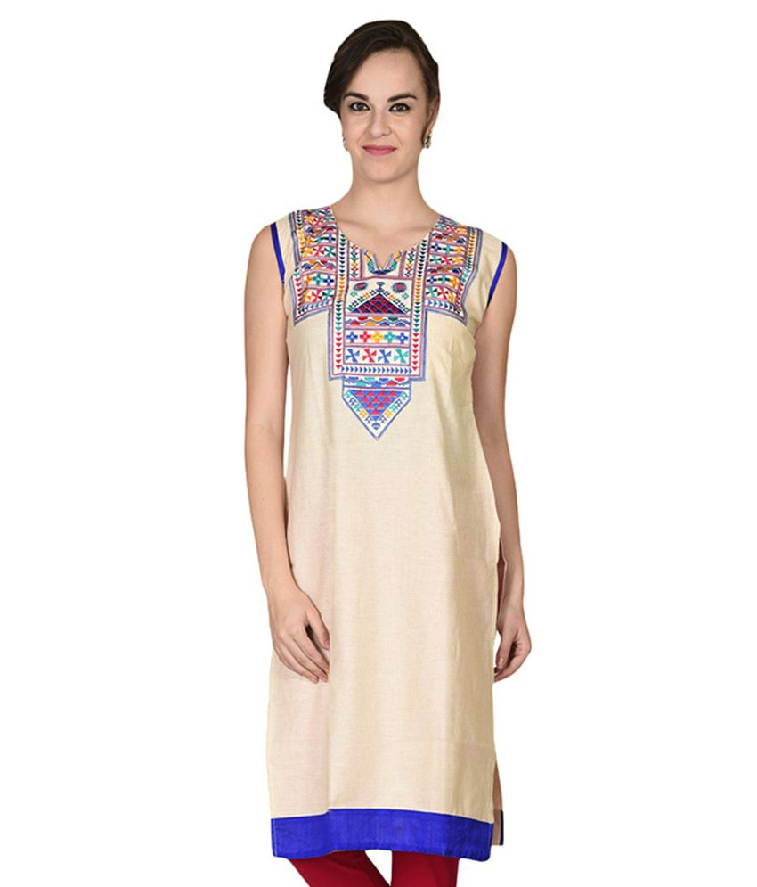 Namaskaar India Beige Cotton Kurti