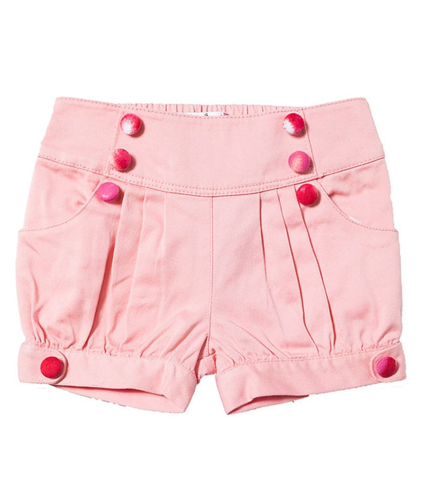 Nauti Nati Cotton Solids  PeachPuff Shorts For Kids