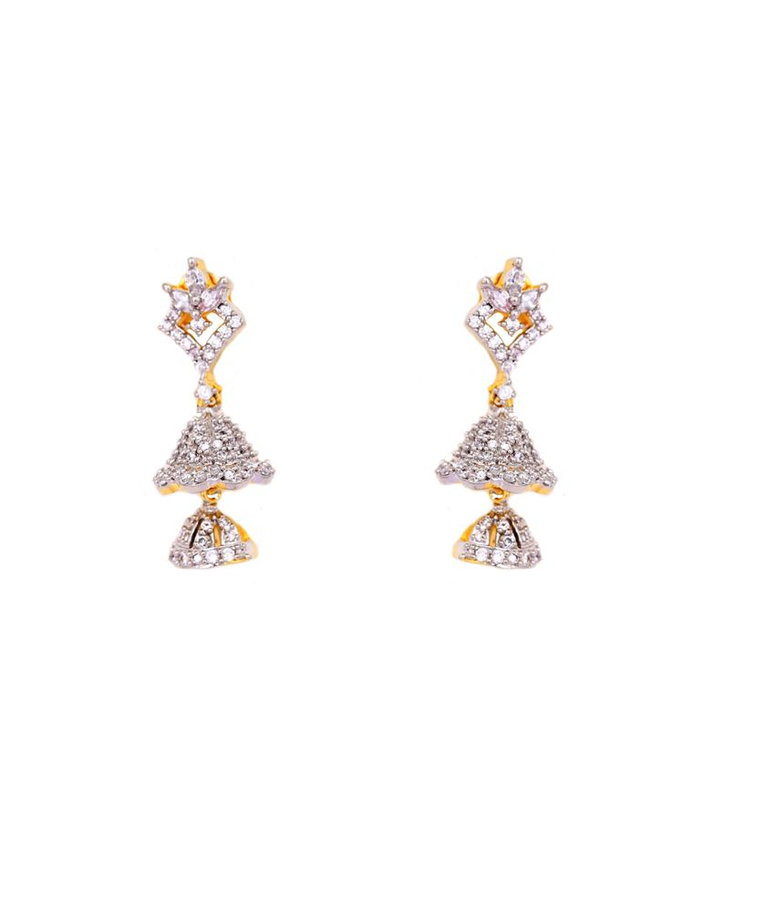 diamond zoom com earrings jhumka kuberbox blooming loading
