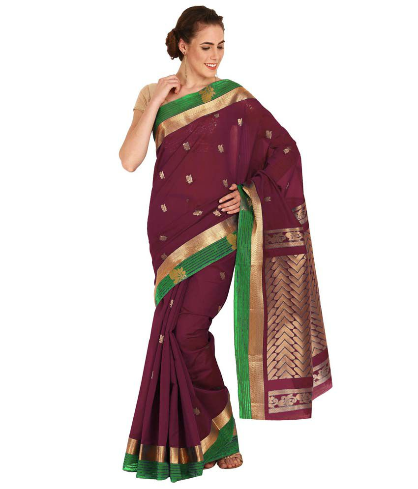 Pratamika Purple Silk Saree