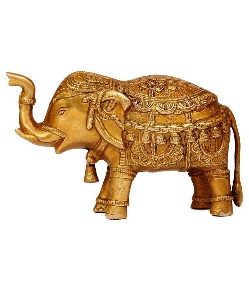 Craftartz Golden Brass Elephant Idol