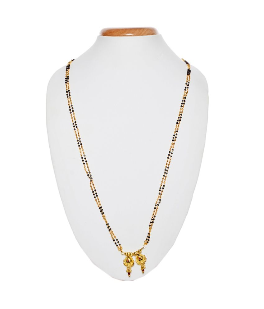 iGenie Black And Golden Floral Traditional Alloy Mangalsutra