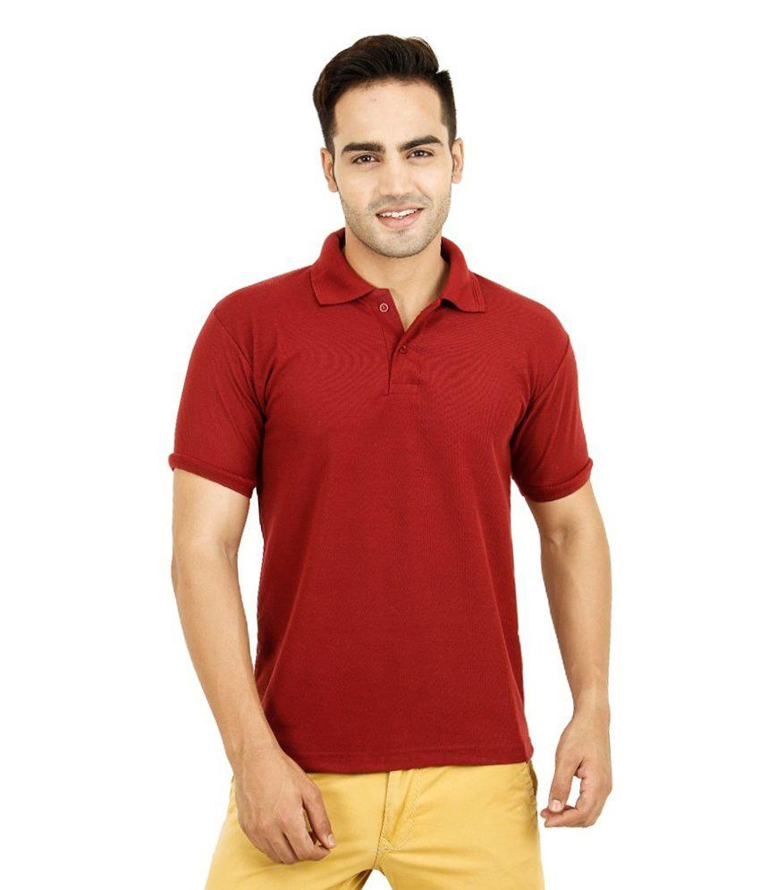 Bahar Red Cotton Blend Polo T-shirt