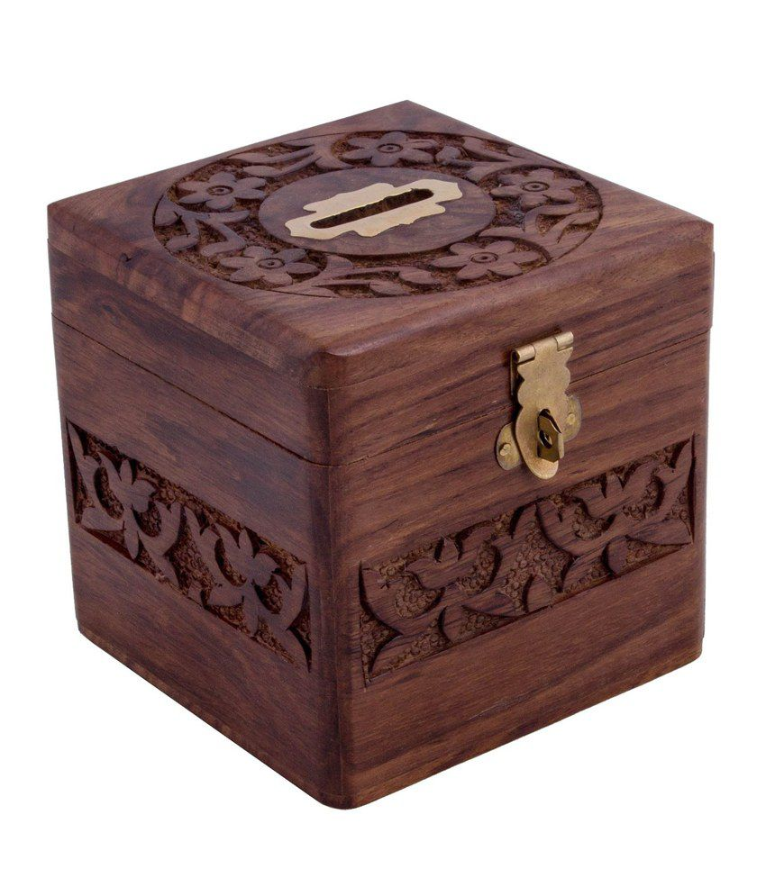 handmade wooden square money piggy bank coin box with. Black Bedroom Furniture Sets. Home Design Ideas