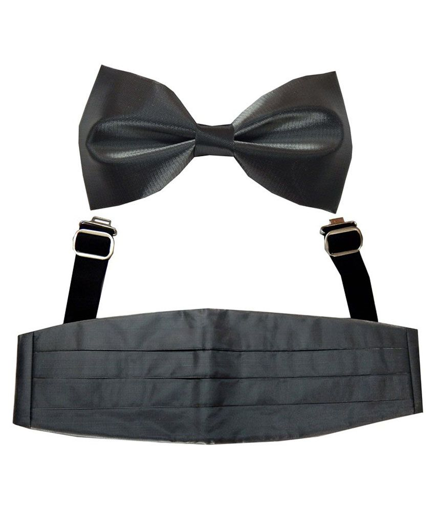 Navaksha Men'S Gray Shimmer Cummerbund And Bow Tie Set