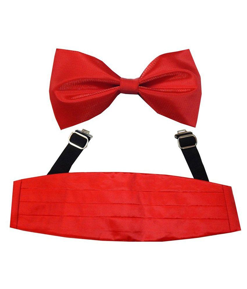 Navaksha Men'S Red Shimmer Cummerbund And Bow Tie Set