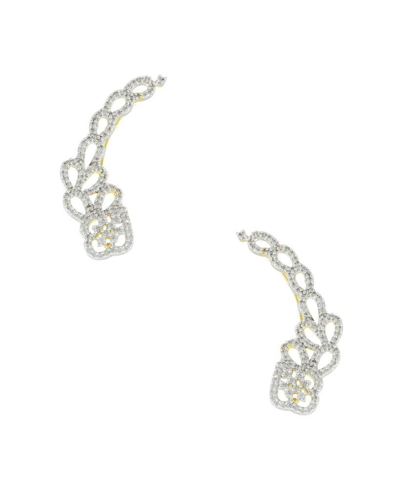Orniza White Bridal Alloy American Diamonds Dangle Earrings