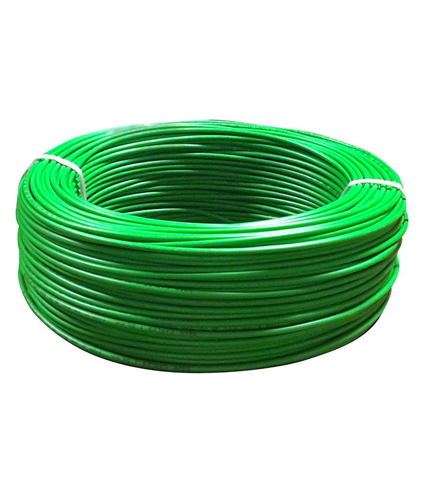 Buy Wipocab 6 Sq.mm Multi Strand Green Flexible Copper Wire Online ...
