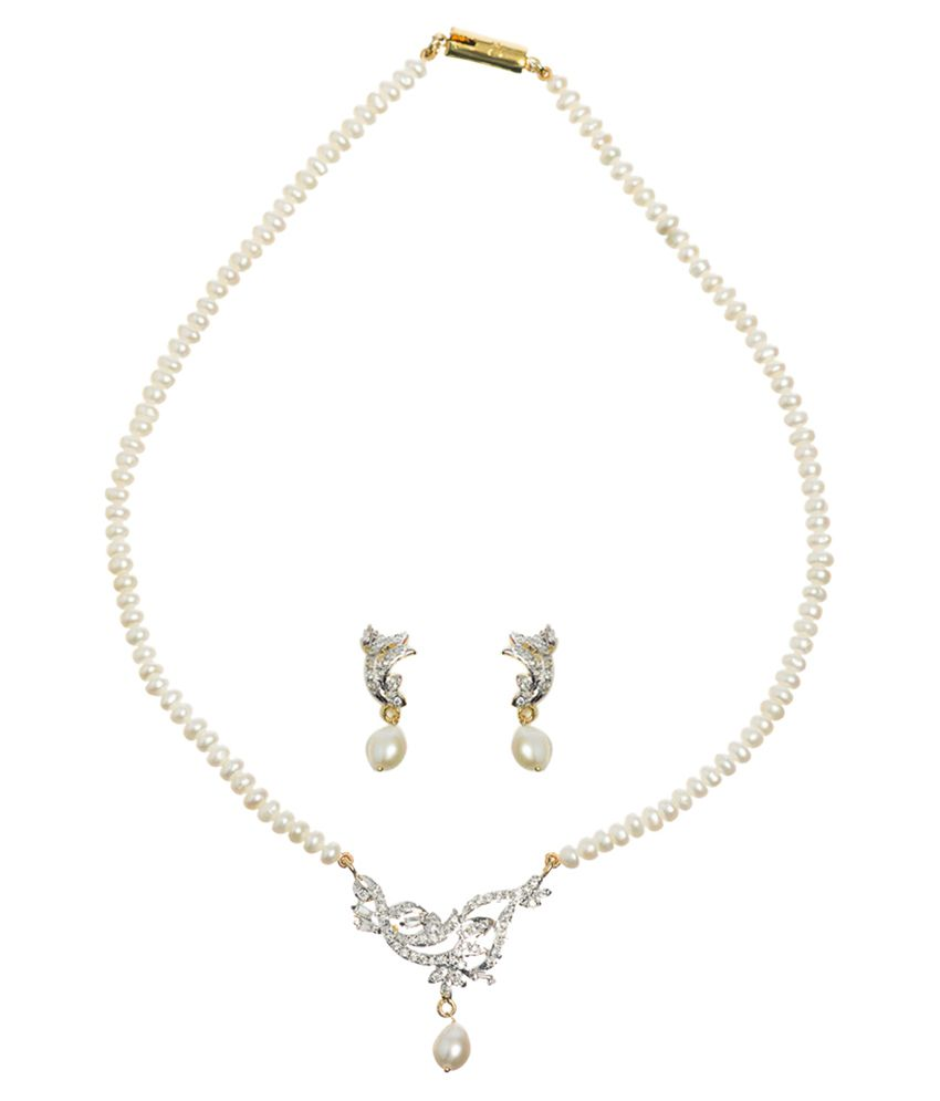 Chandrani Pearls White Floral Designer Necklace Set