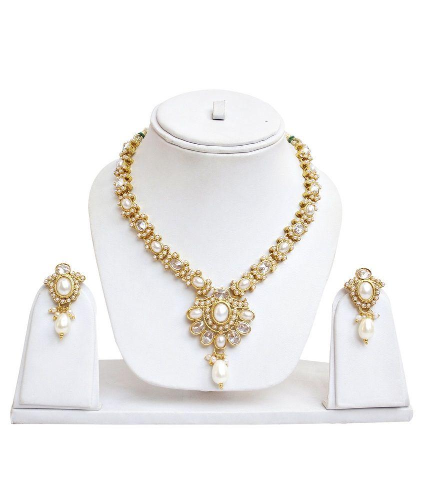 Lucky Jewellery Golden Alloy Necklace Set