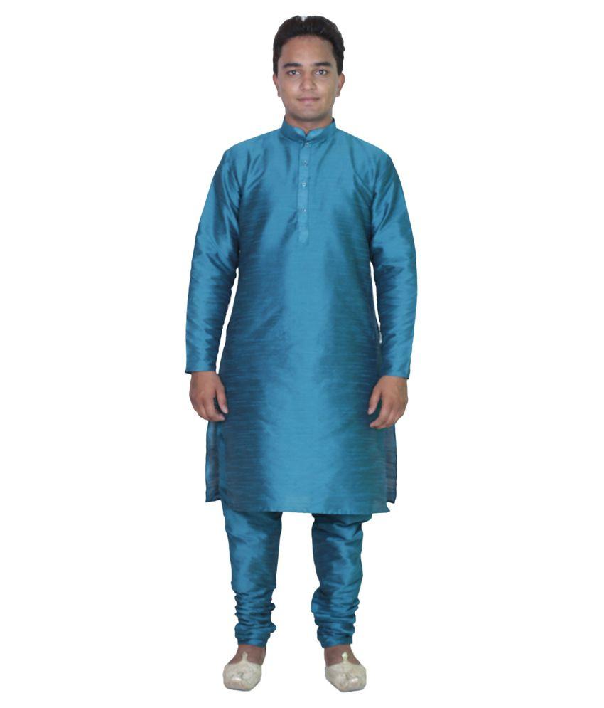 AMG Blue Silk Kurta Pyjama Set
