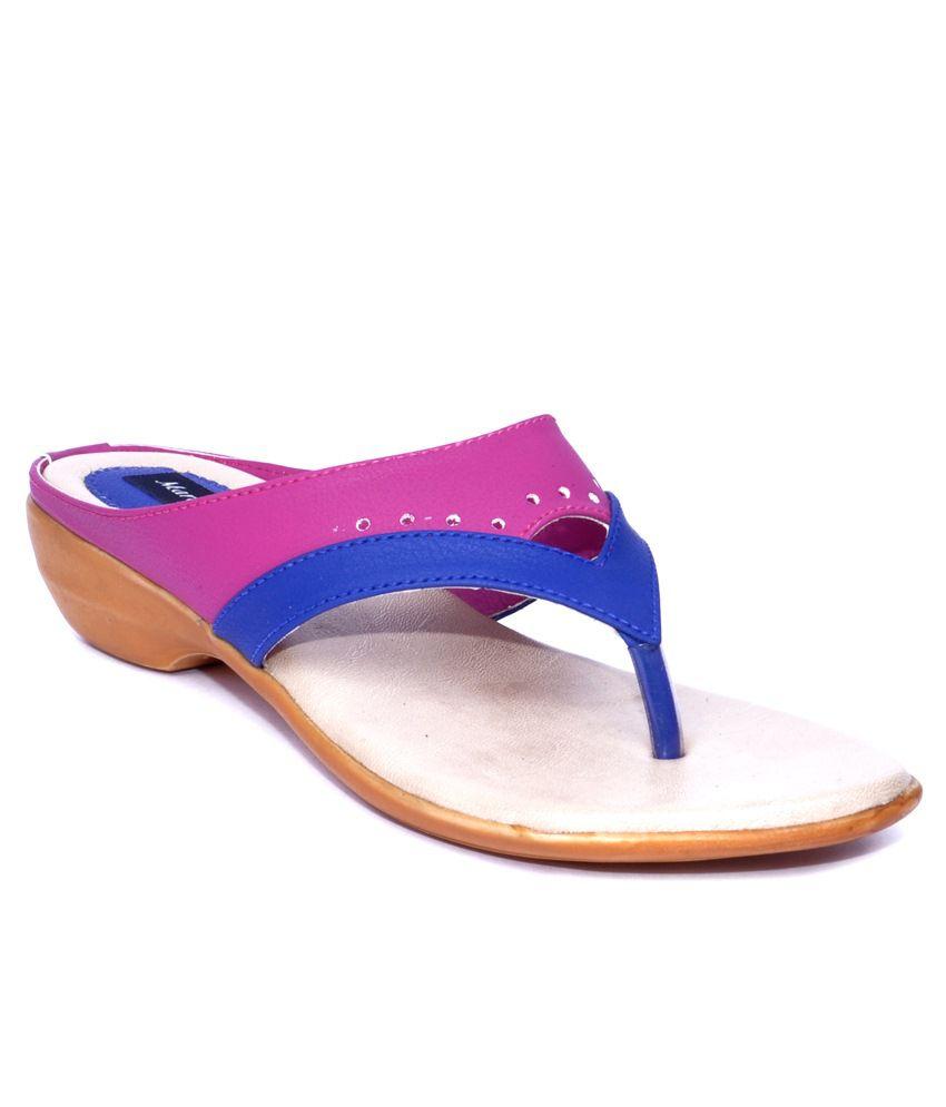 Marie Comfort Blue & Pink Slip Ons