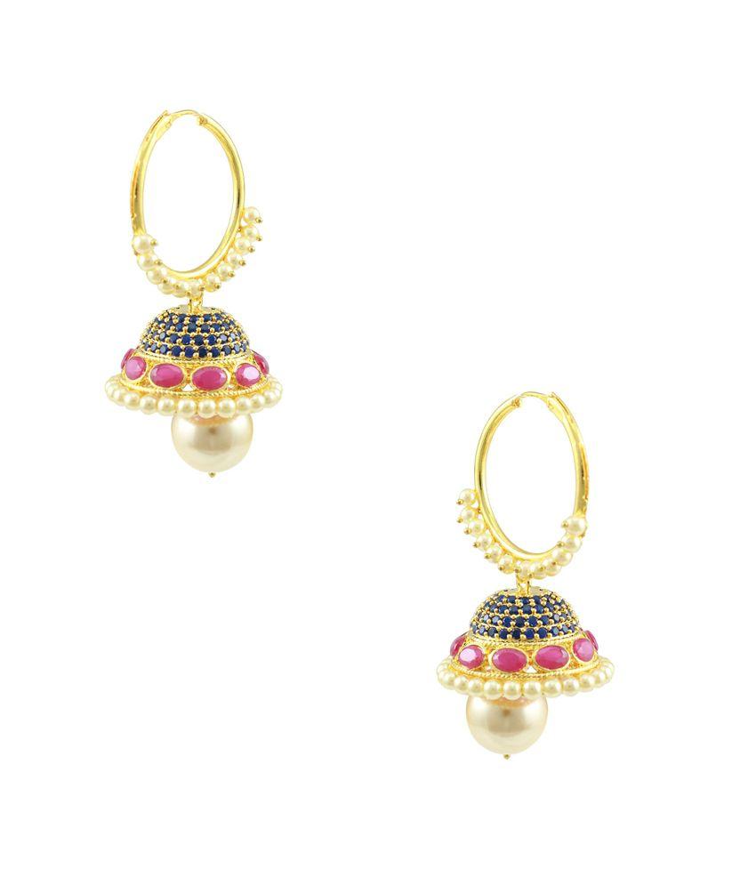 Orniza Red Bridal Alloy Pearl Hoop Earrings