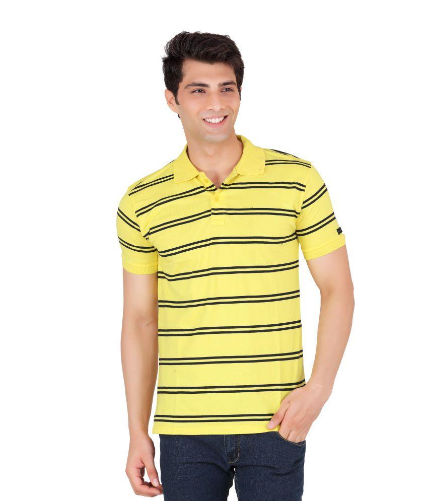 WebMachinez Yellow Cotton Half Polos T-Shirt