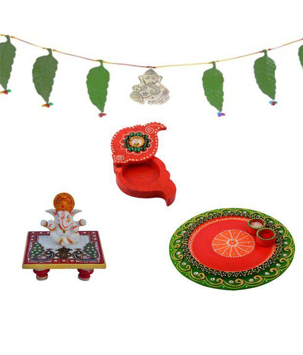 eCraftIndia Combo of Pooja Thali, Toran, Ganesha Chowki & Chopra