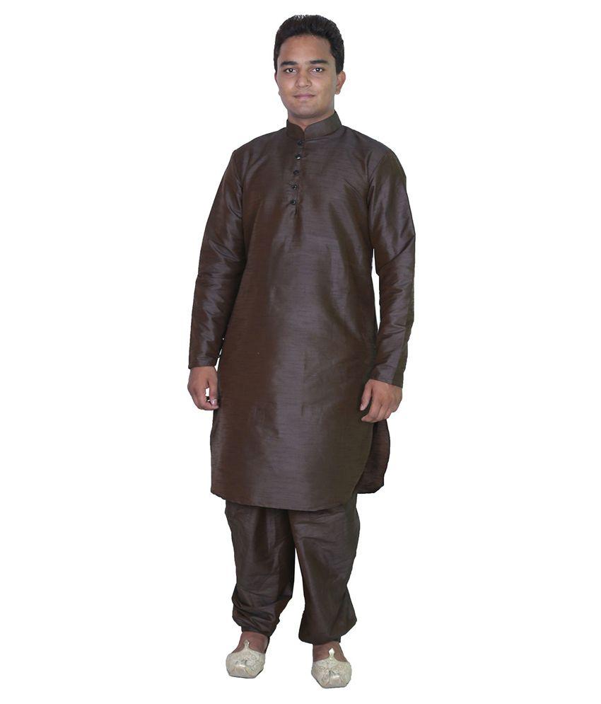 AMG Brown Silk Pathani Suit