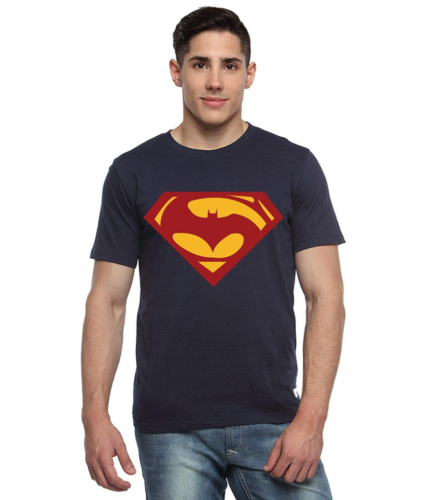 Adro Navy Blue & Red Batman & Superman Printed Cotton T Shirt