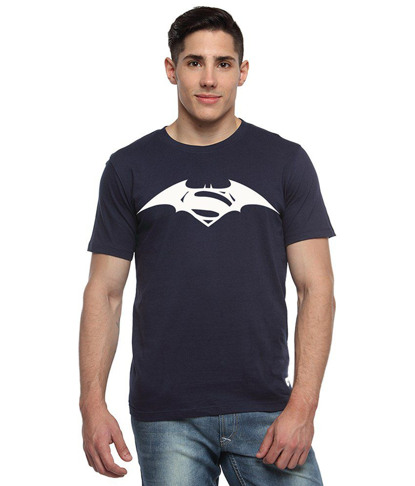 Adro Navy Blue & White Batman & Superman Printed Cotton T Shirt