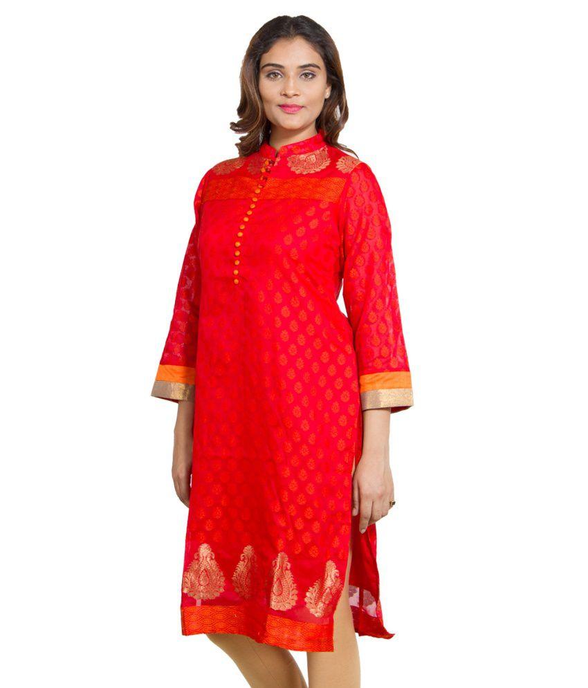 Amabella Red and Orange Chanderi Kurti