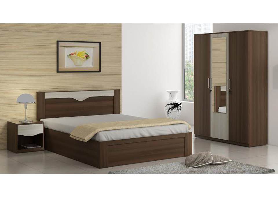 spacewood crescent bedroom set queen storage bed 3 door wardrobe rh snapdeal com
