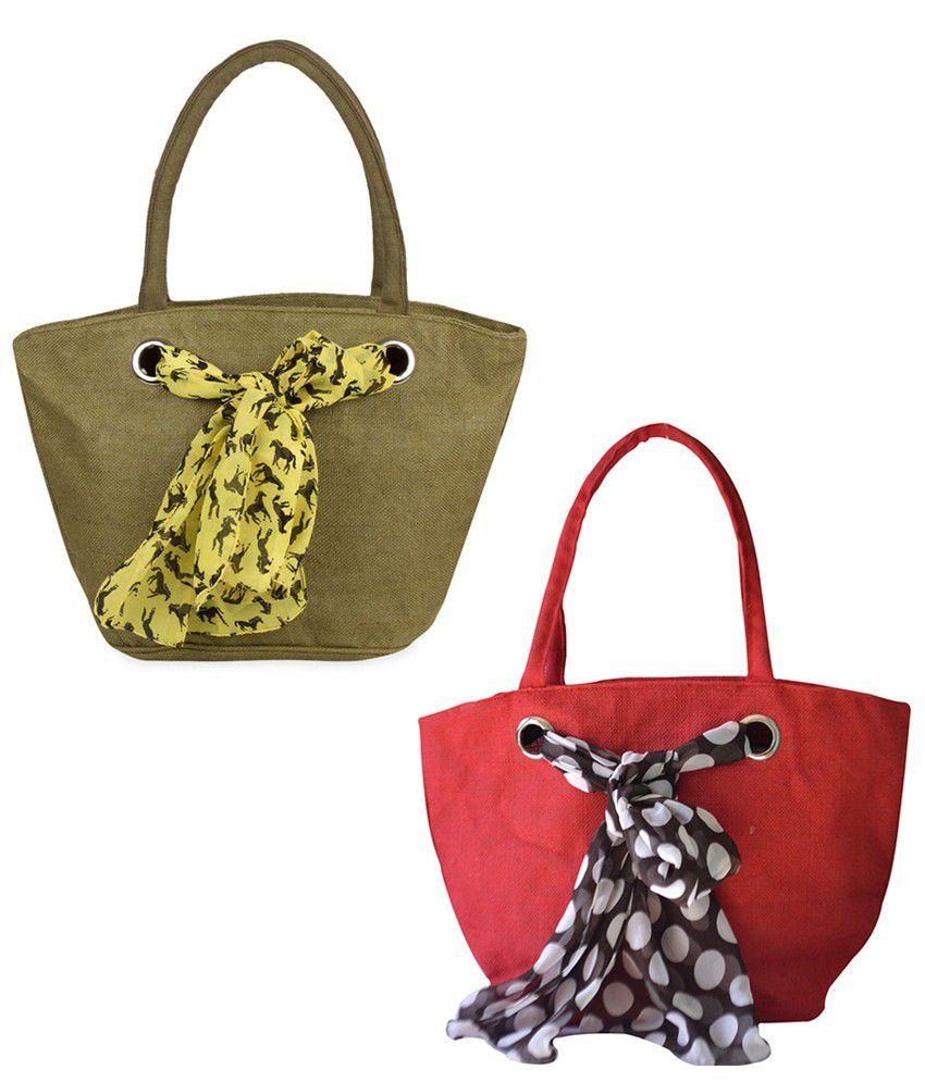 Earthen Me Green Red Jute Handbags Combo Set Of 2