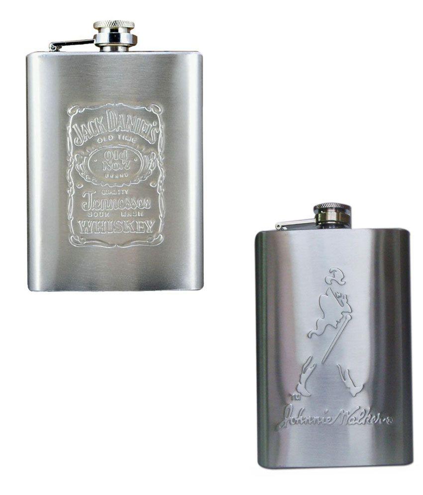 Jack Daniels Embossed Stainless Steel Wine Hip Flask 8 Oz With Johnnie Walker Hip Flask 8 Oz