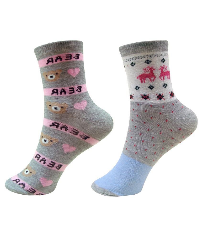 Jack & Ginni Multicolour Cotton 2 Pair Pack Socks