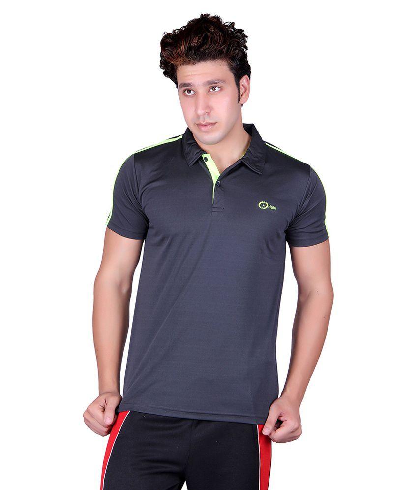 Originsport Black Sports Wear Polo T-Shirt