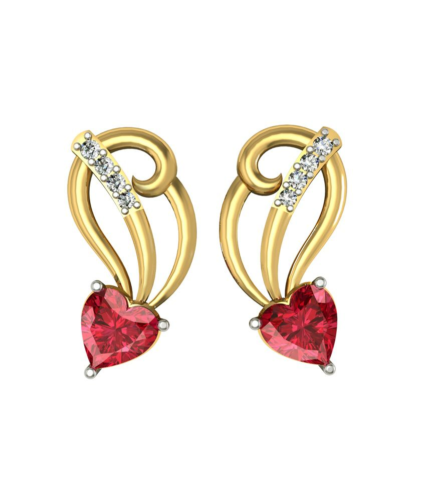 Shruti Red German Silver Stud Earrings