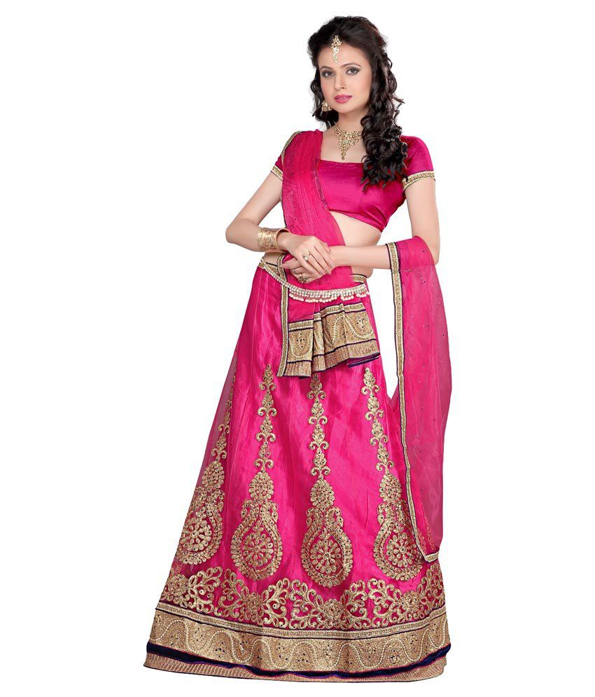 Youth Mantra Pink And Beige Satin Lehenga Buy Youth Mantra Pink