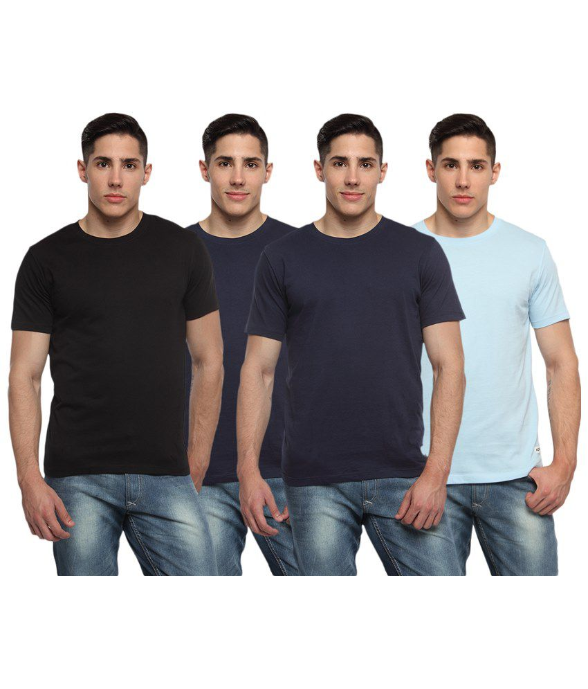 Adro Pack of 4 Black & Blue Round Neck T Shirts