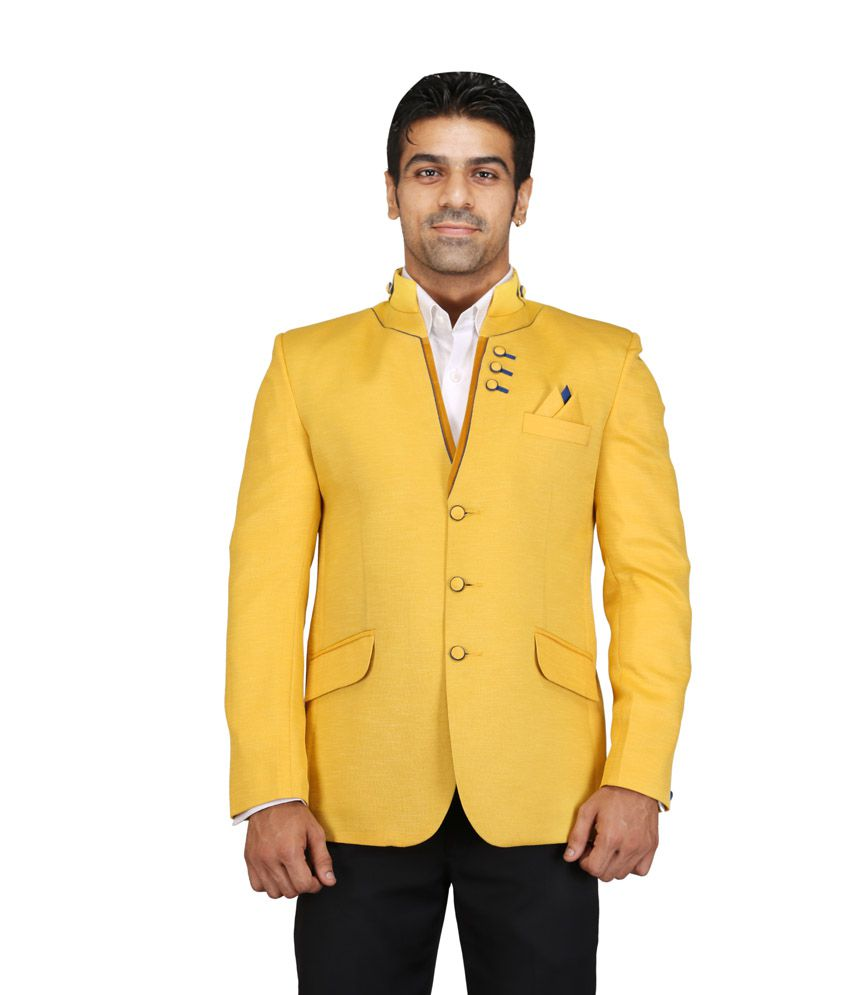 Chandhok Yellow Poly Viscose Blazer