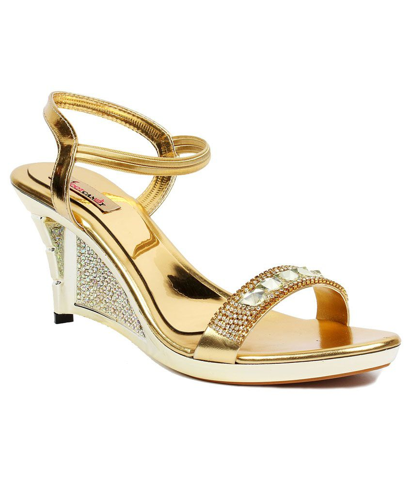 Foot Candy Gold Wedge Heeled Sandals