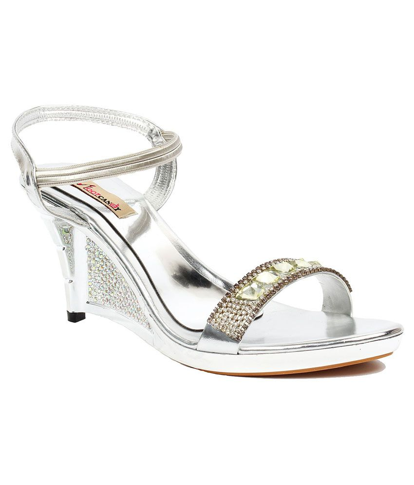 Foot Candy Silver Wedge Heeled Sandals