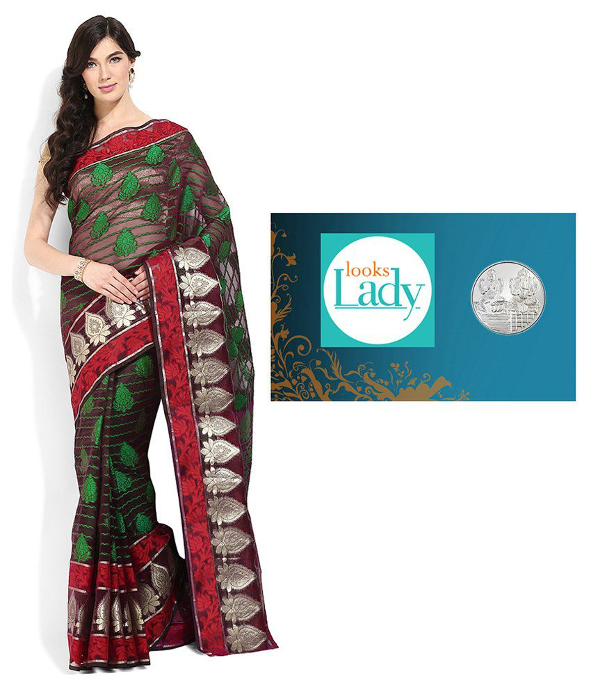 Lookslady Banarasi Silk Saree with Free Pure Silver Coin