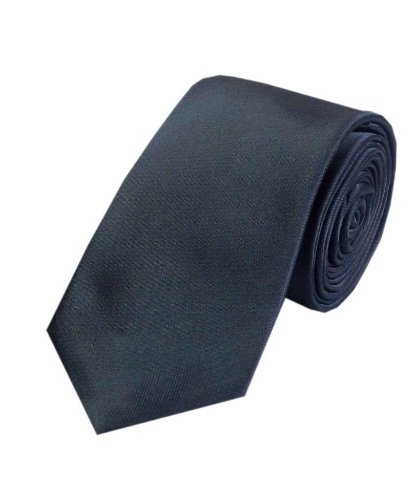Navaksha Grey Satin Casual Skinny Tie