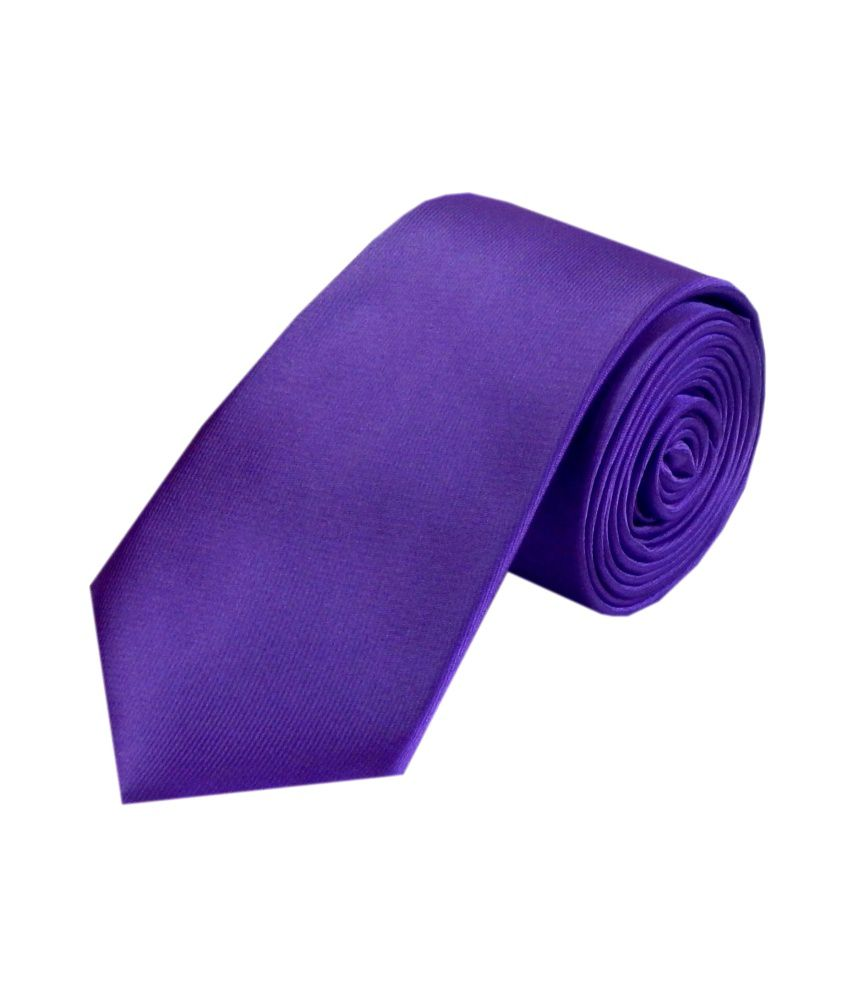 Navaksha Purple Satin Casual Skinny Tie