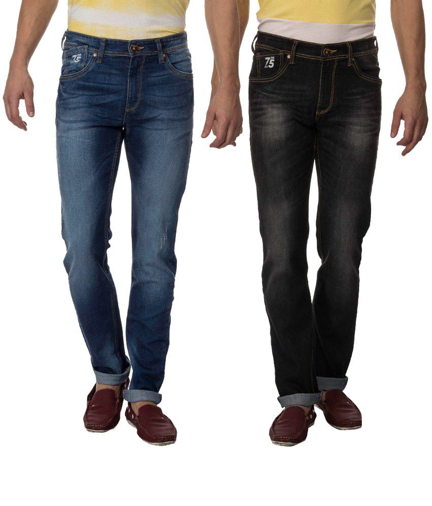 Raa Jeans Multicolor Slim Fit Jeans - Combo Of 2