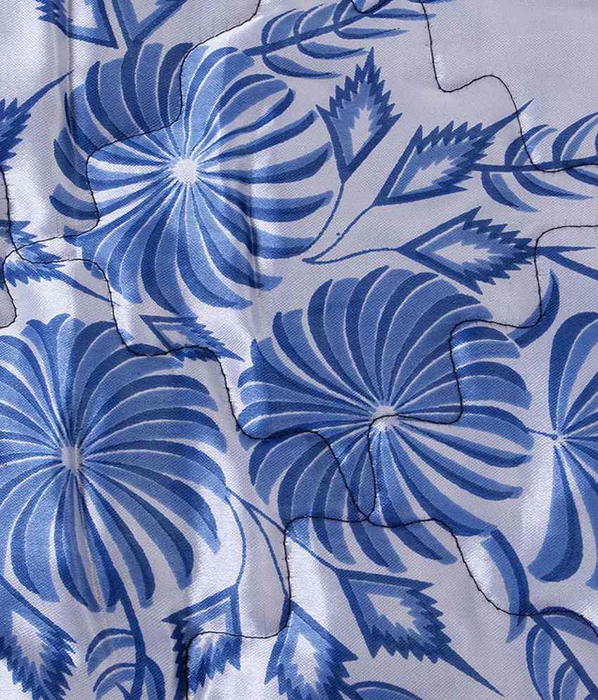 Renown Blue Floral Design Fancy Satin Double Bedsheet Set 4pc 2