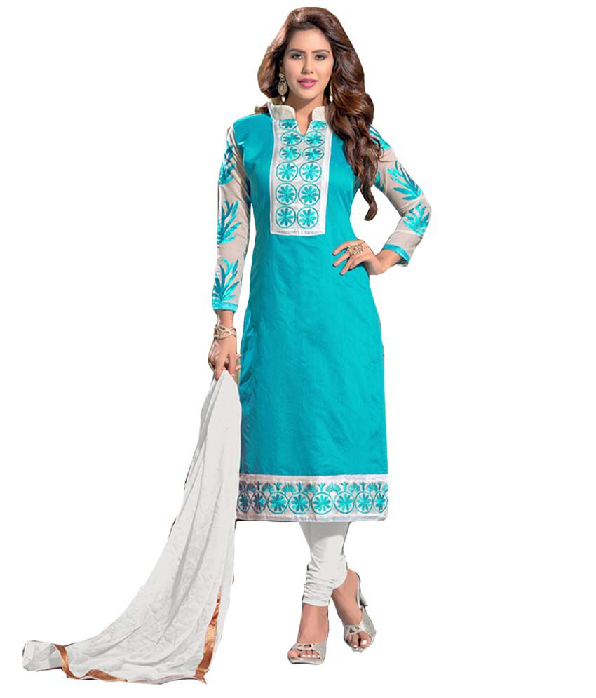 aead81ae8ba Blissta Green and Blue Chanderi Dress Material - Buy Blissta Green and Blue  Chanderi Dress Material Online at Best Prices in India on Snapdeal