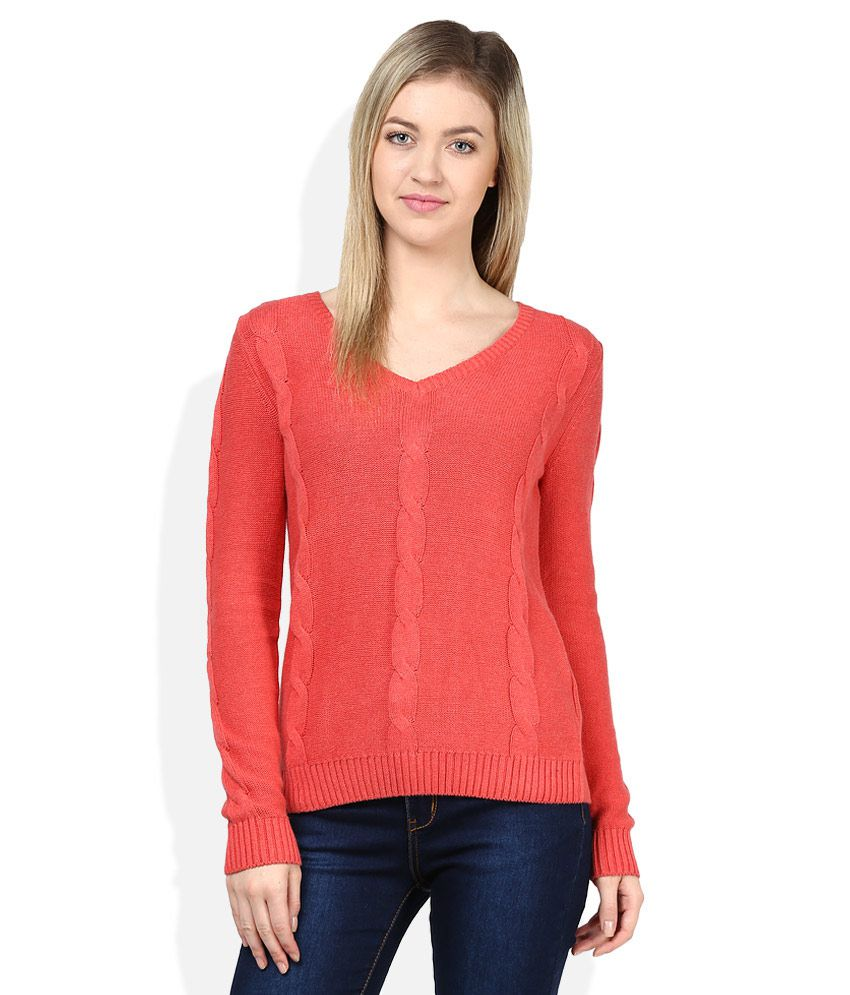 Being Human Orange V Neck Pullovers