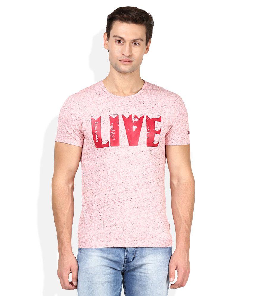 Being Human Pink Round Neck Printed T-Shirt
