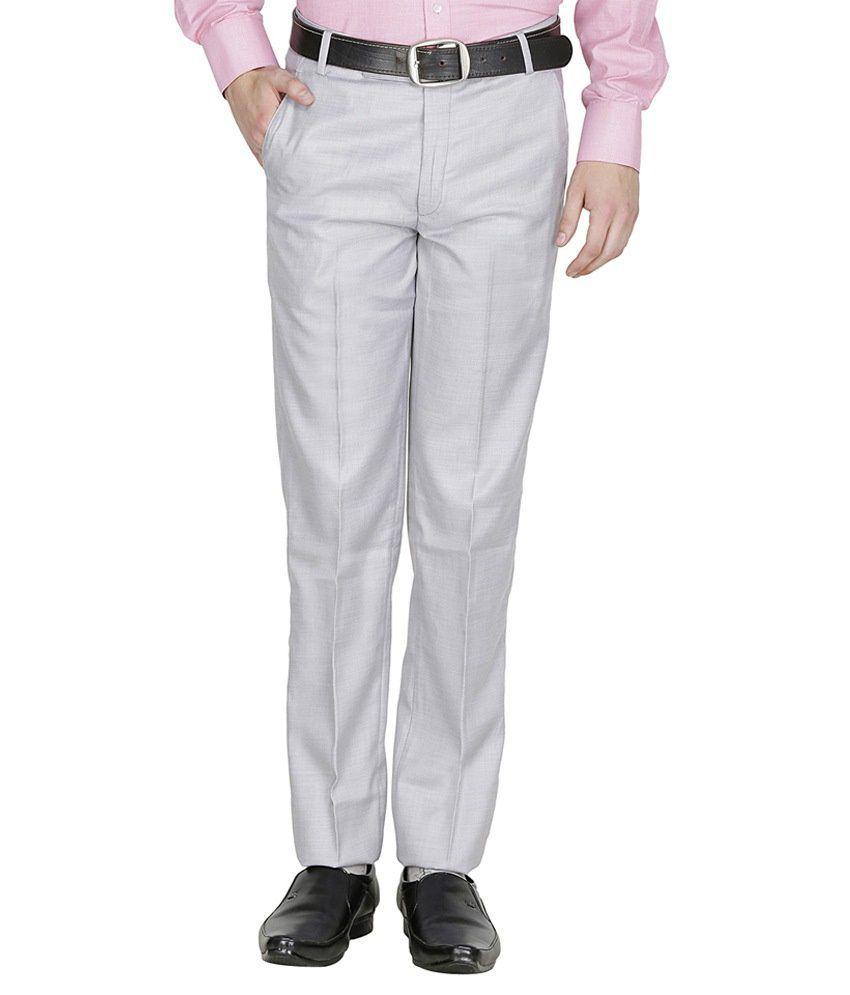 Blu Eleven Grey Regular Fit Formal Flat Trouser
